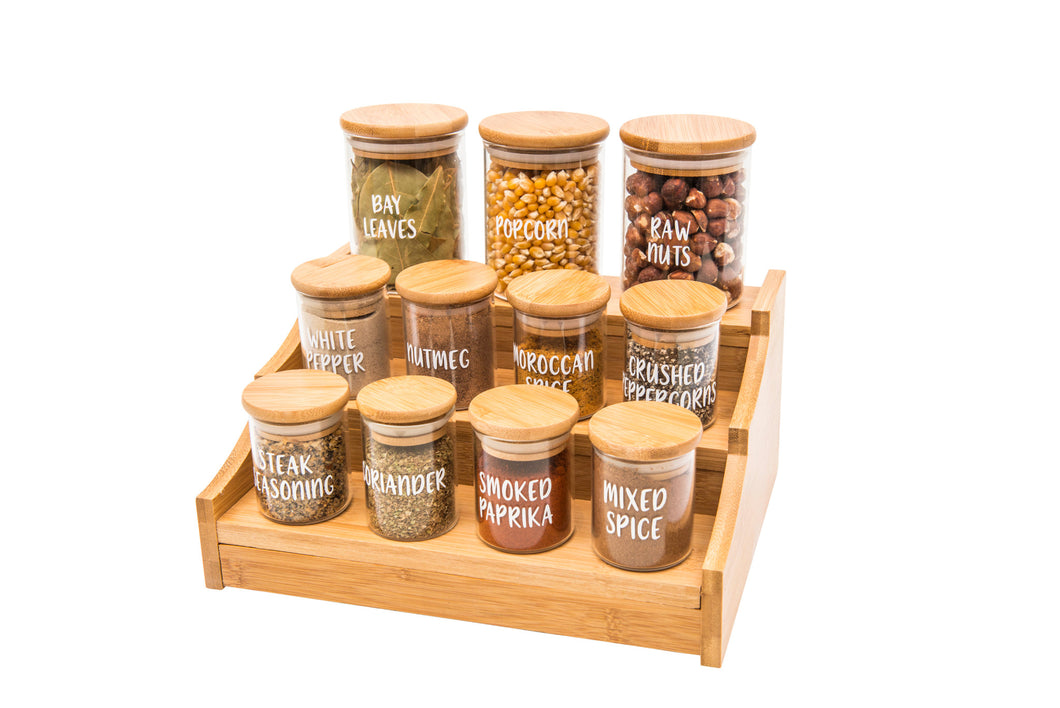 Mini Bamboo Shelf with 8 x 75ml & 3 x 200ml herb/spice jars