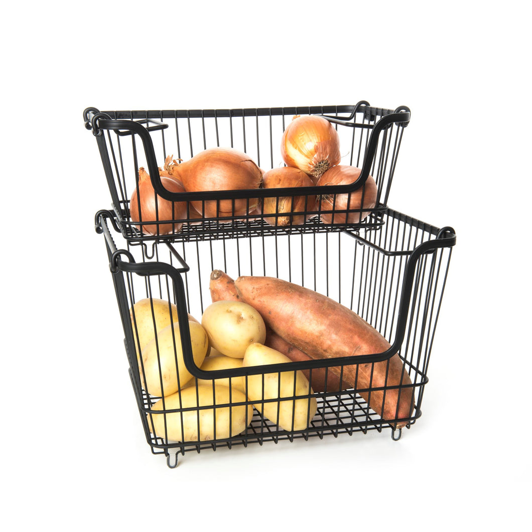 Black Stackable Wire Baskets (2 pack) - Little Label Co