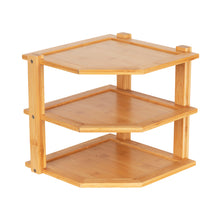 Bamboo Three Tier Corner Shelf - Little Label Co