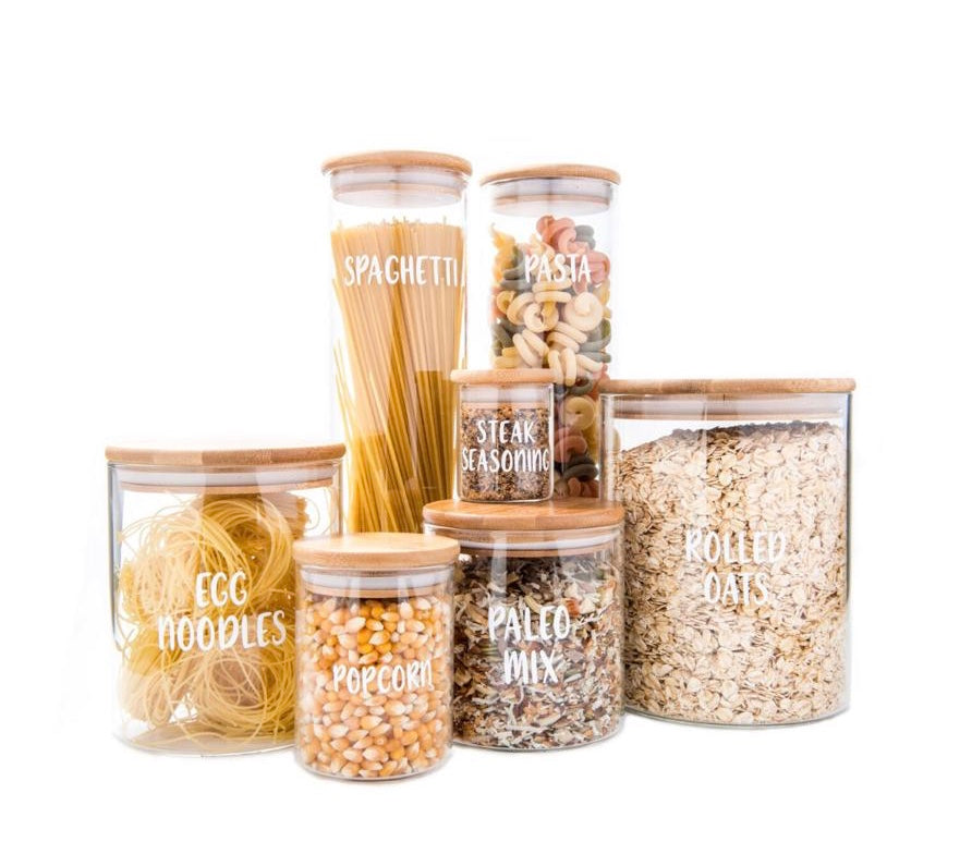 Glass Storage Jar With Bamboo Lid 500ml Little Label Co
