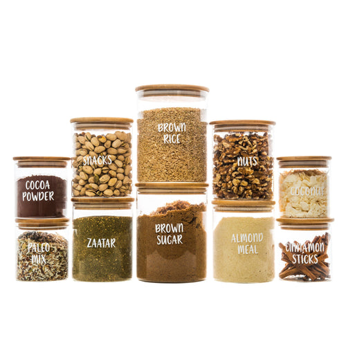 Bamboo Glass Jars Small Pack - Little Label Co