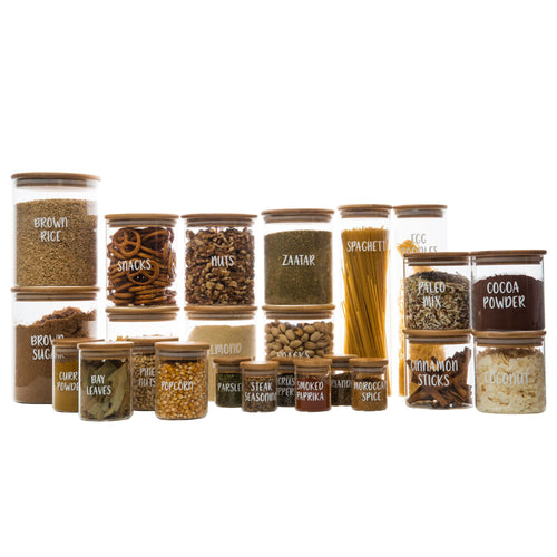 Bamboo Glass Jars Large Pack - Little Label Co