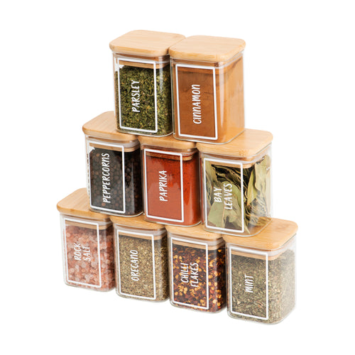 Square Bamboo Herb & Spice Jar Labels - Little Label Co