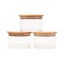 Small Round Stackable Bamboo Glass Jar - Little Label Co