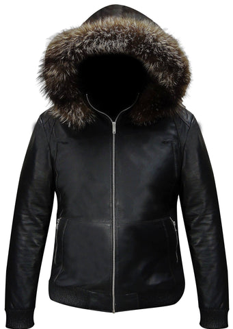 Mens Silver Fox Fur Black Leather Jacket
