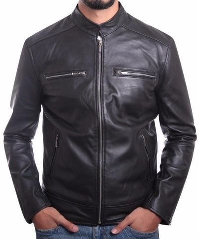 Mens Corporate Leather Jacket Black