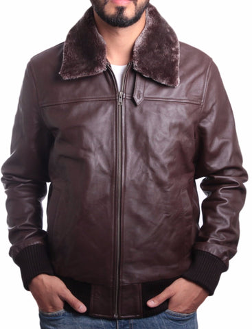 Mens Faux Fur Collar Pilot Leather Jacket
