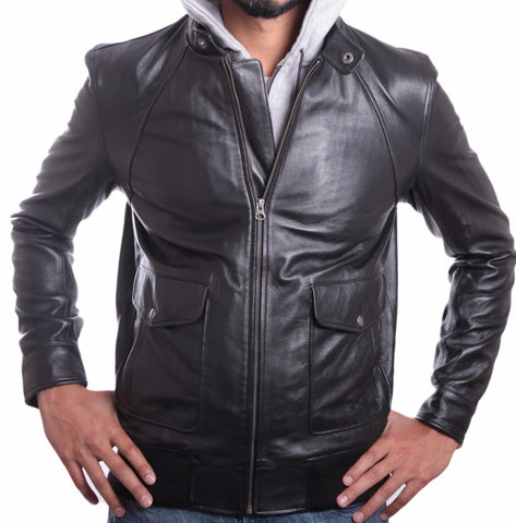 Men's Soft Lambskin Hooded Leather Bomber Jacket