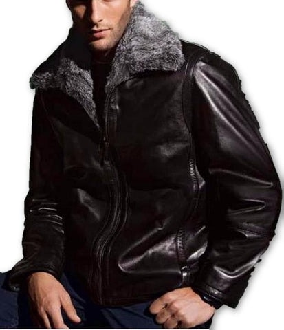 Mens Faux Fur Leather Jacket