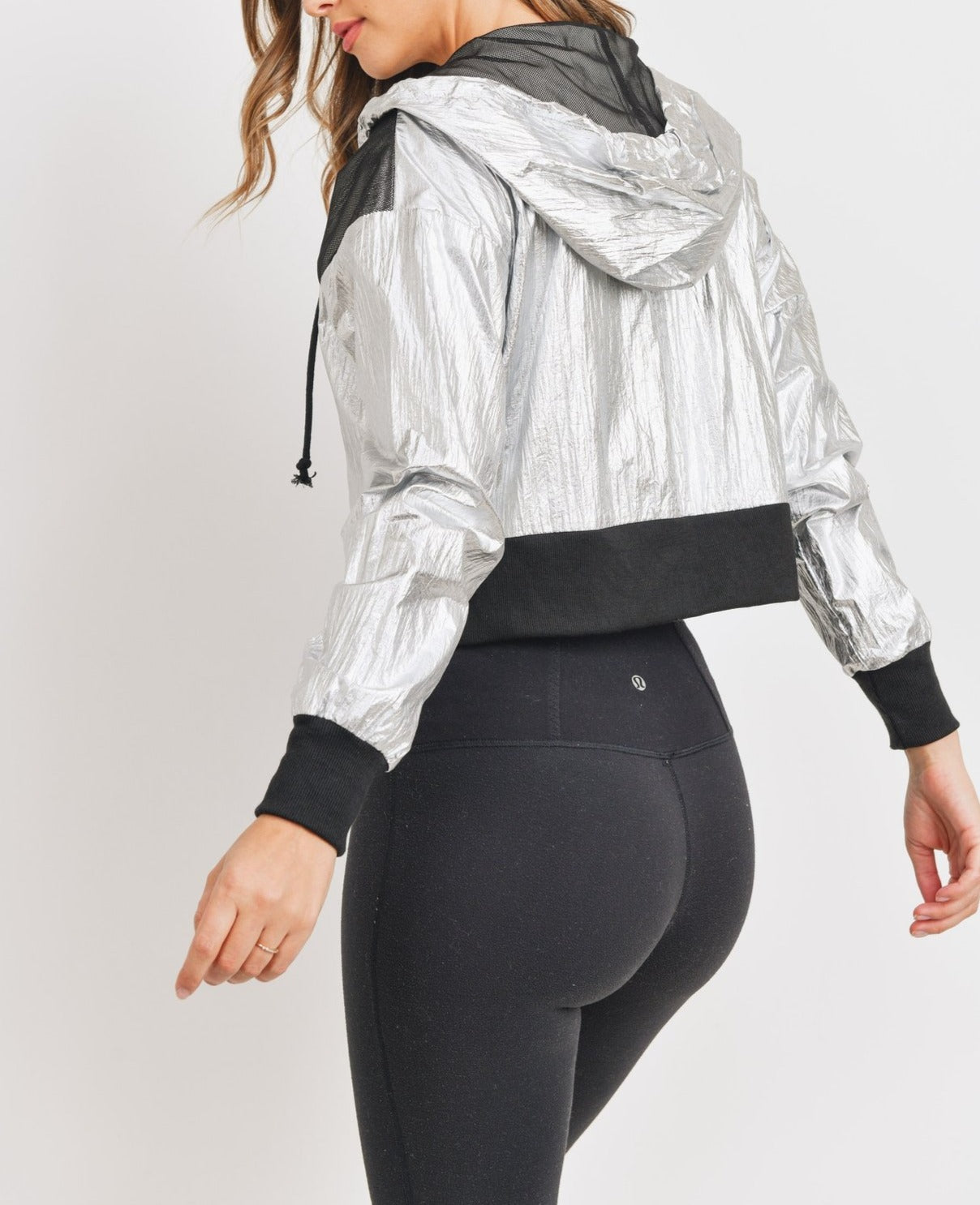 Women Silver Cropped Metallic Windbreaker Jacket