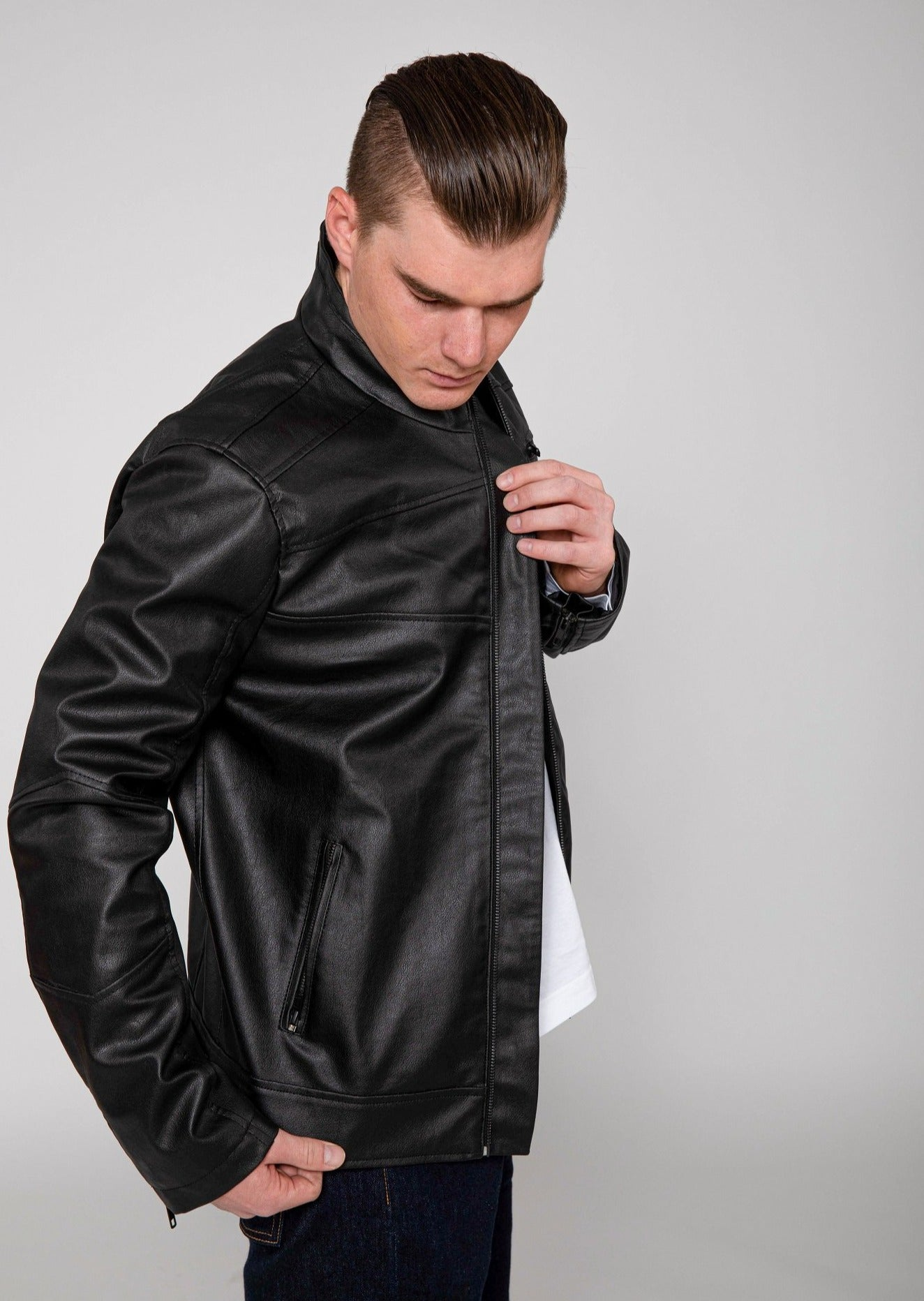 Men's Eagle Faux Leather Biker Jacket
