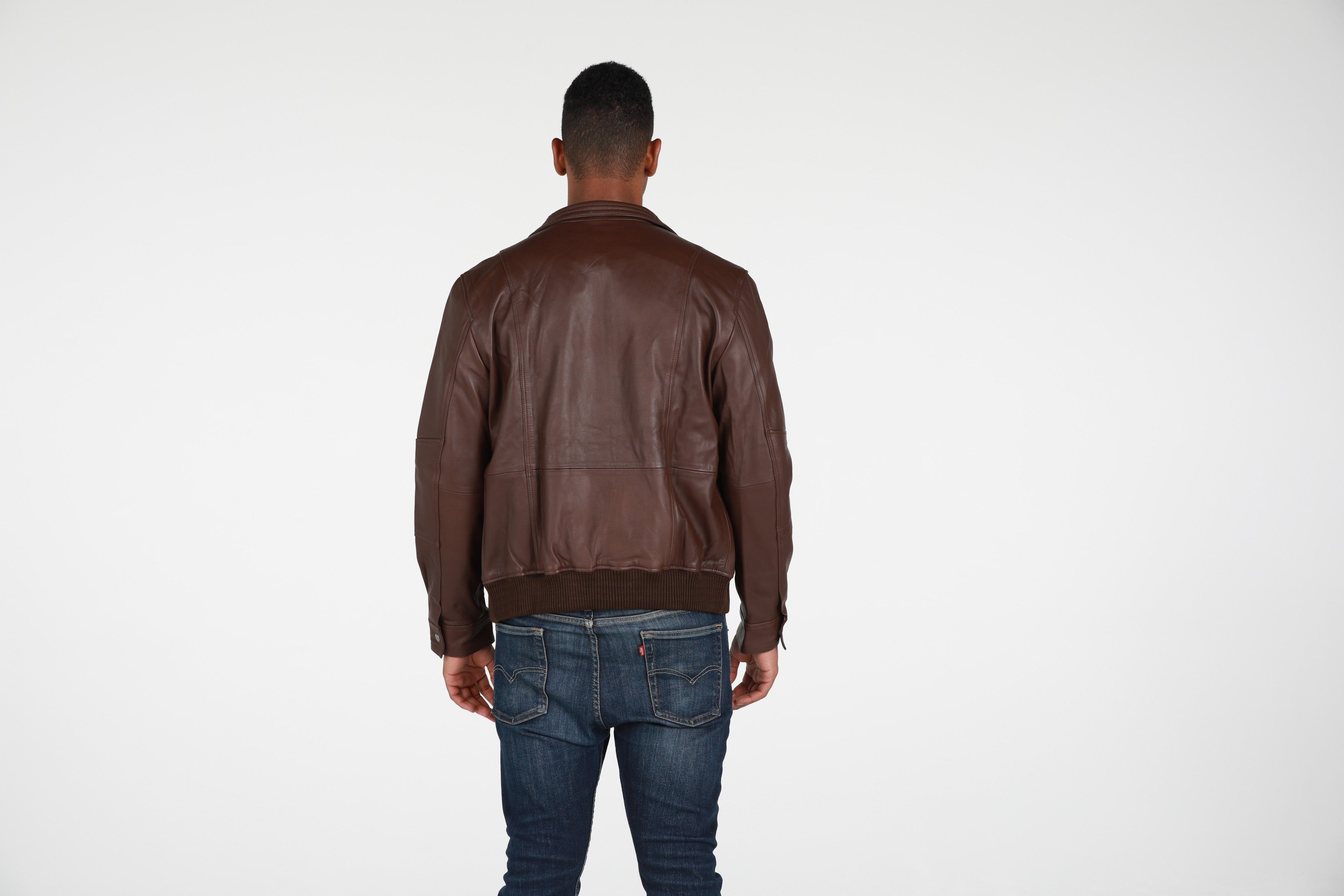 Austin Mens Leather Bomber Jacket Brown, [option2] - Fadcloset
