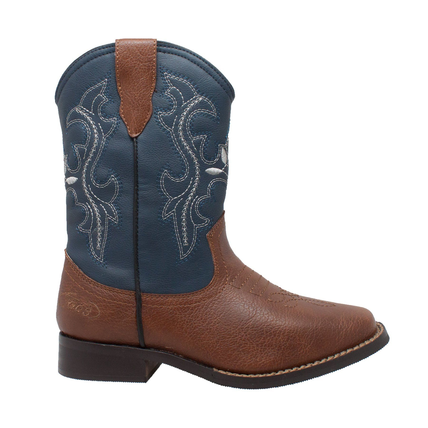 "Children's Boots - Children's 8"" Navy Blue/Brown Top Western Pull On Boots"