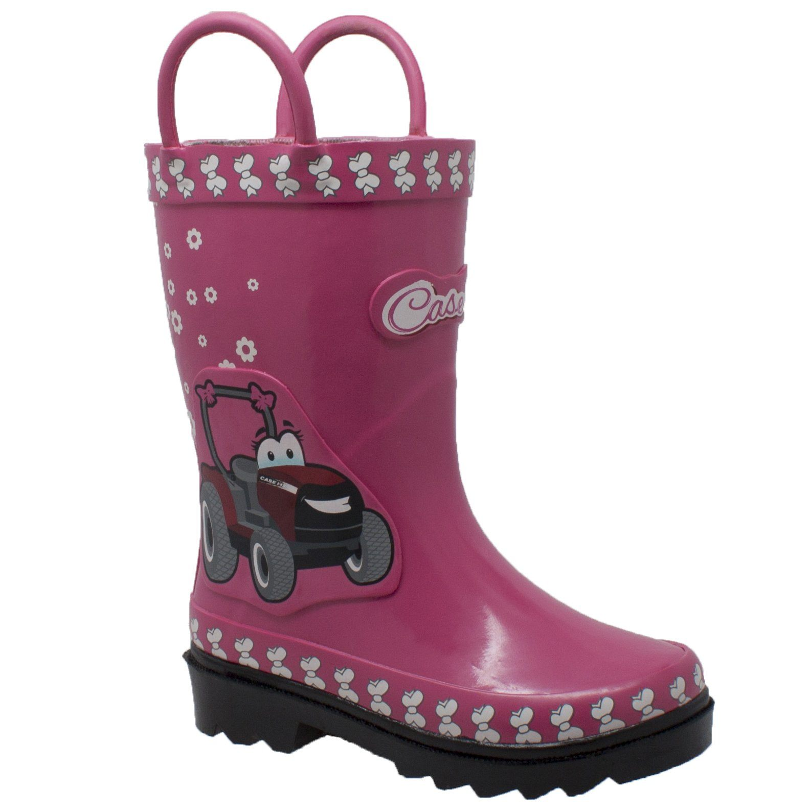 Children's Boots - Toddler's 3D Tractor Pink Rubber Boots