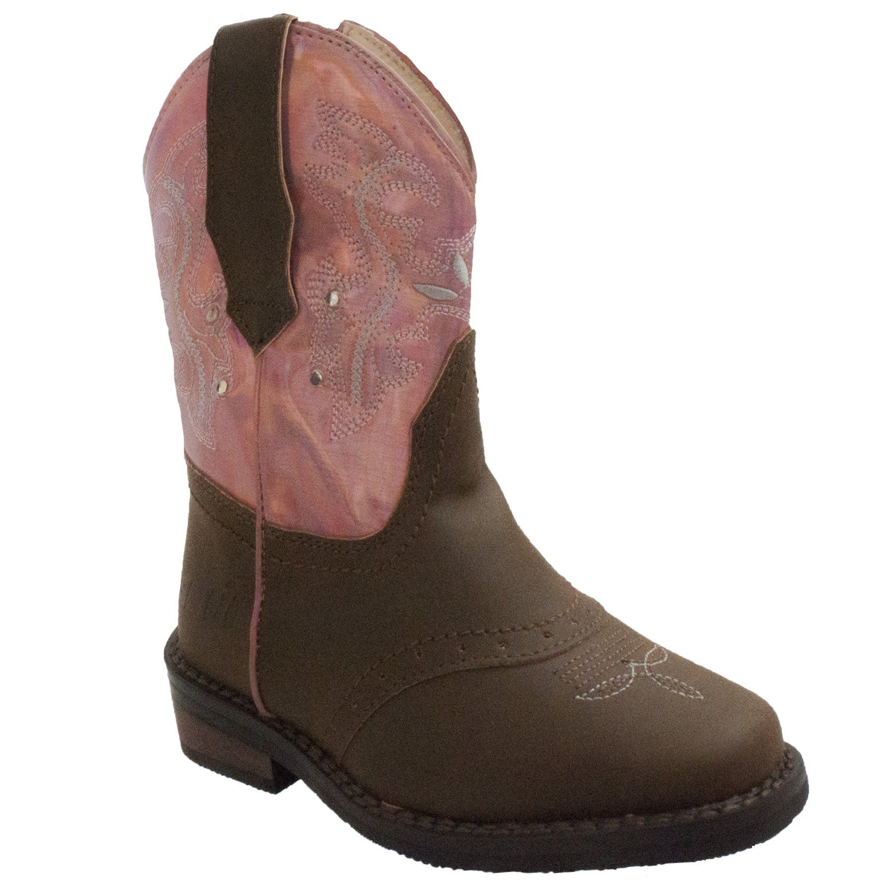 Children's Boots - Toddler's Western Pink & Brown Light Up Boots