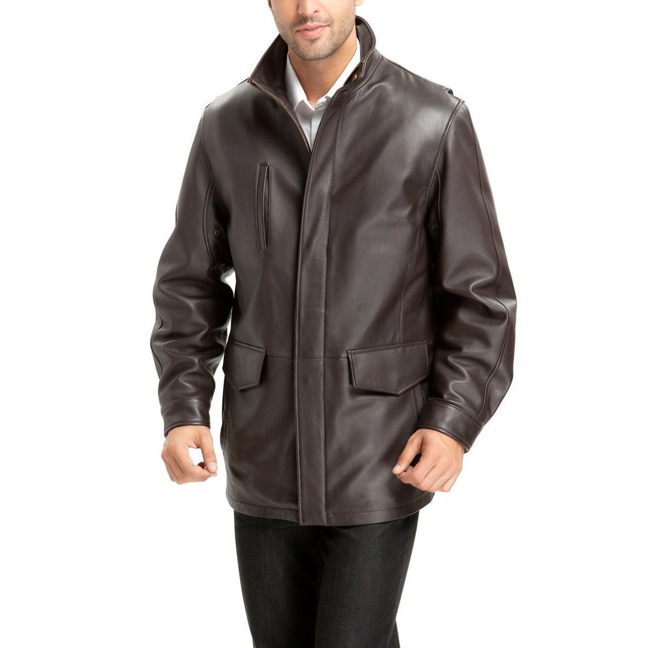 Leather Coat - Men's Java Brown Casual Leather Coat