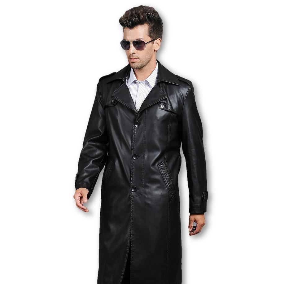 Mens Executive Premio 3 Button Trench Leather Coat - fadcloset