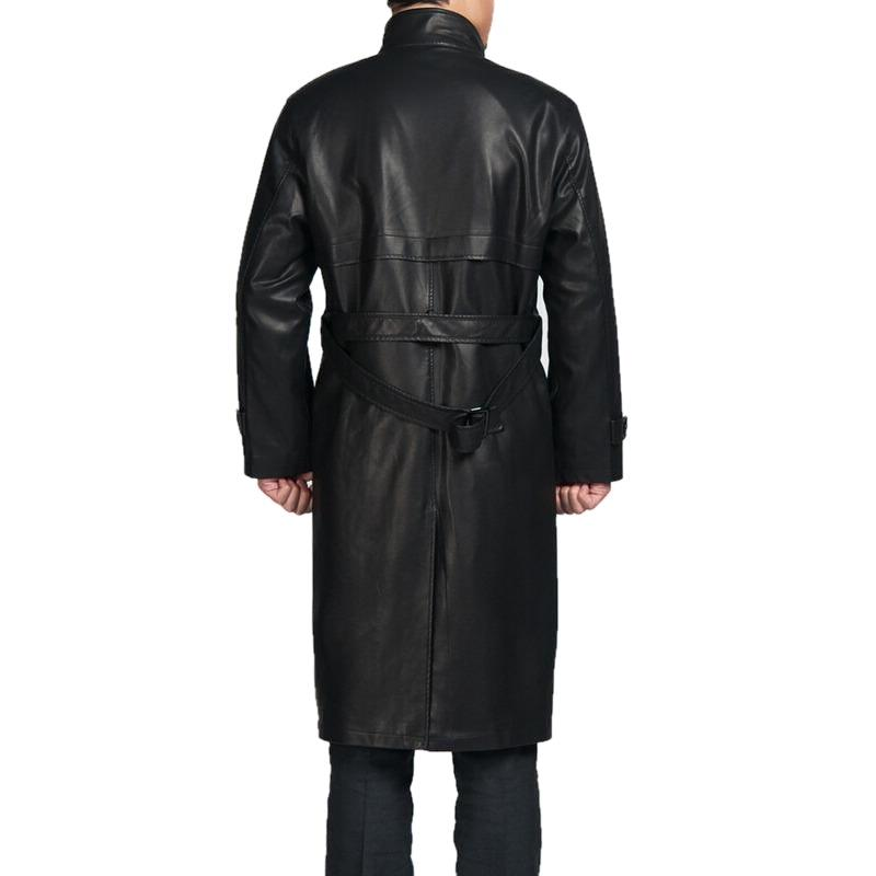 Mens Top Quality Parka Full Length Leather Coat - fadcloset