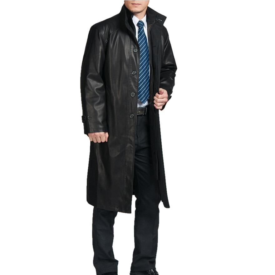 Mens Top Quality Parka Full Length Leather Coat-Leather Coat-Fadcloset-XS-Black-FADCLOSET
