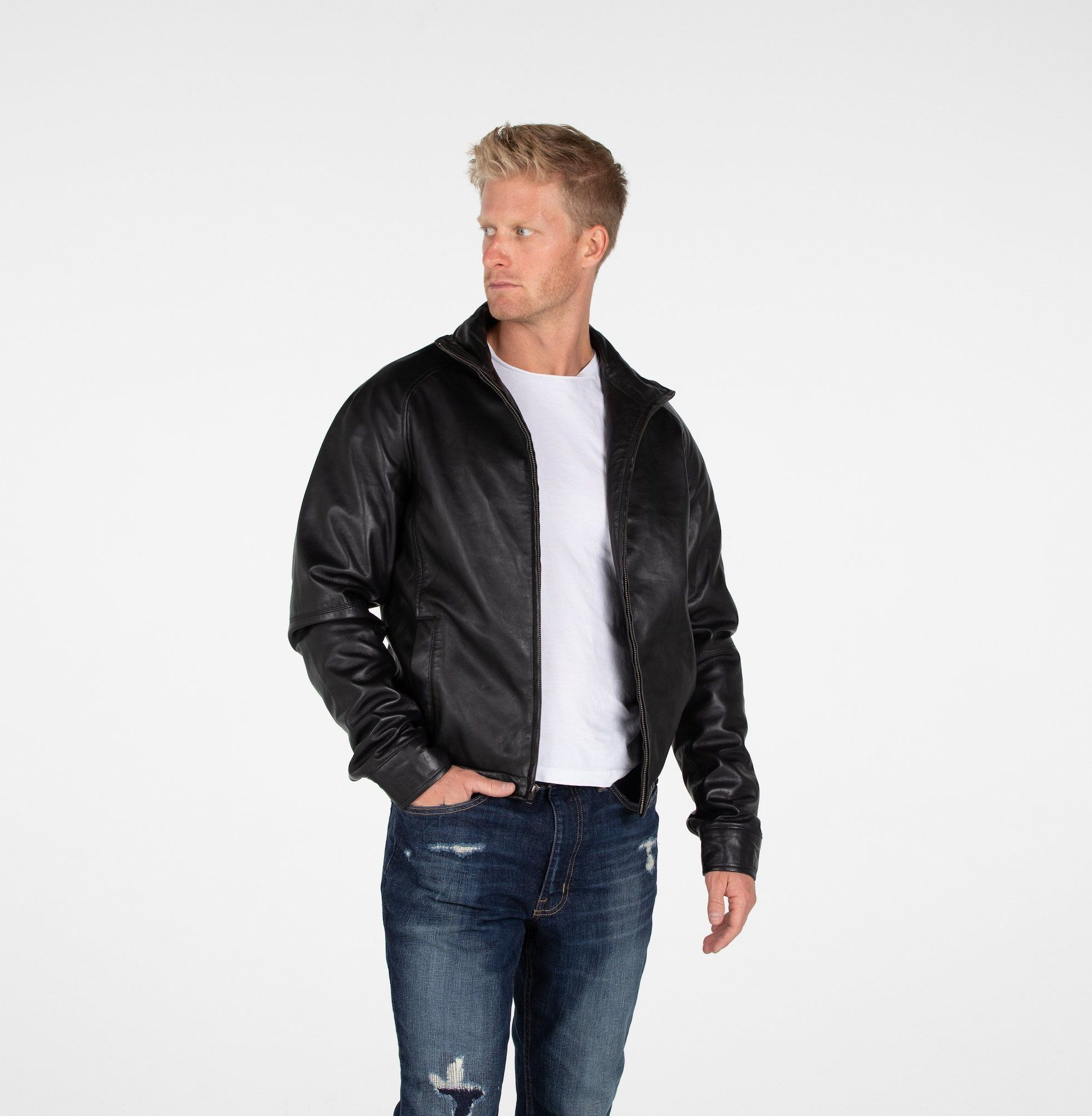 Leather Jacket - B&A Classic Men's Lambskin Leather Jacket