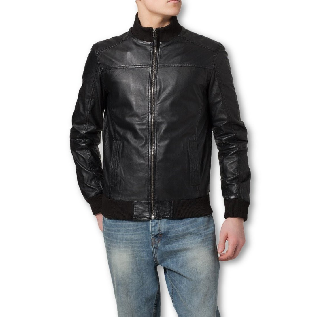 Ceduna Mens Leather Bomber Jacket - Discounted - fadcloset