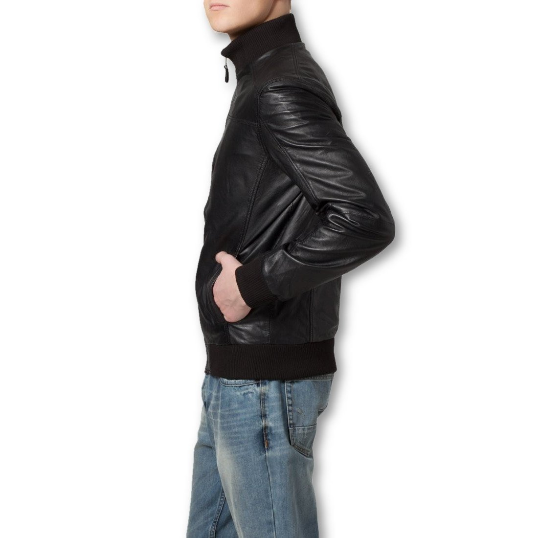 Leather Jacket - Ceduna Mens Leather Bomber Jacket