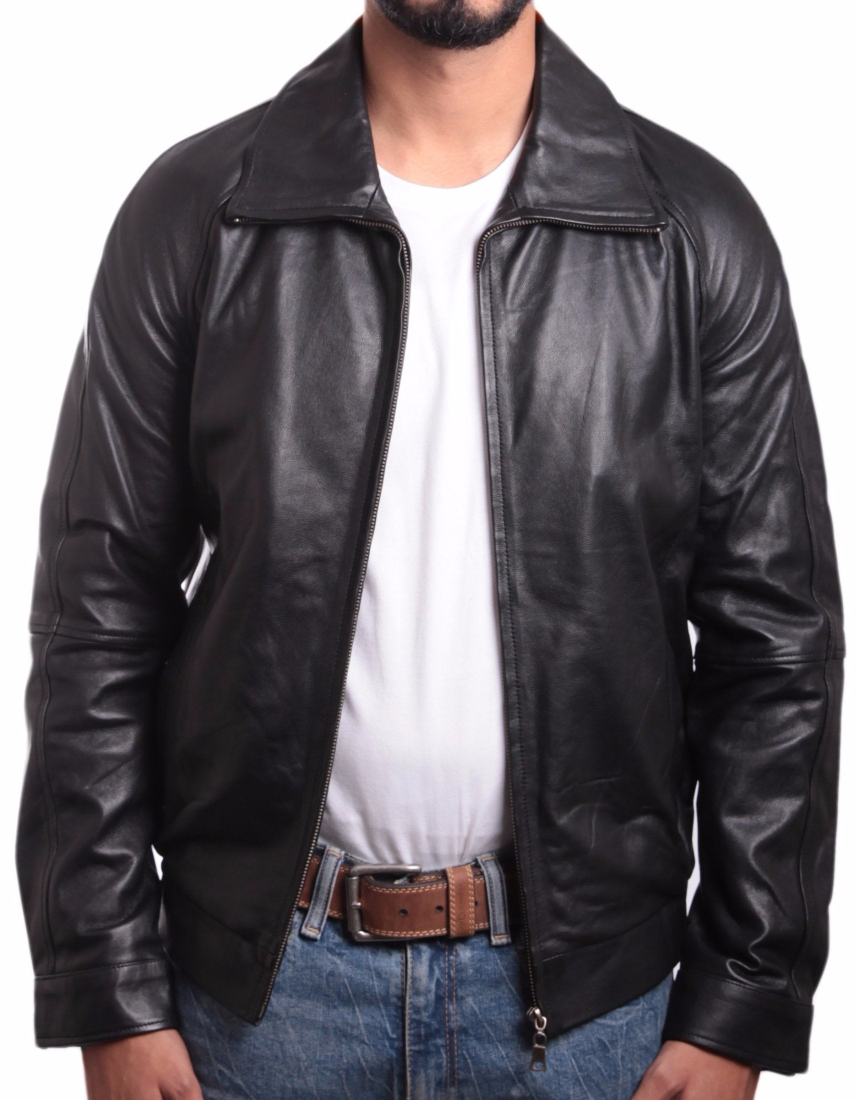 Daily Mens Straight Zip Leather Jacket - fadcloset