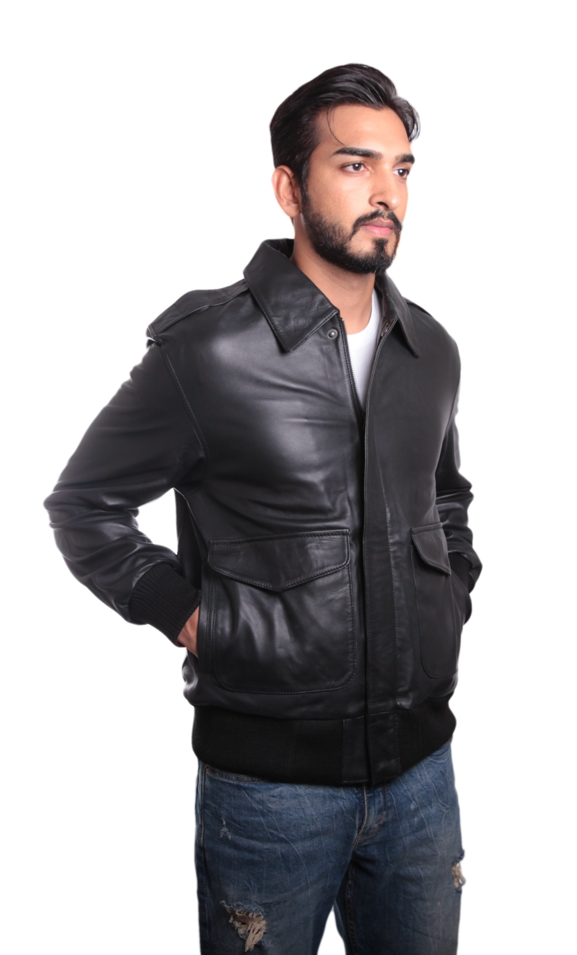 Houston Mens Leather Bomber Jacket, [option2] - Fadcloset
