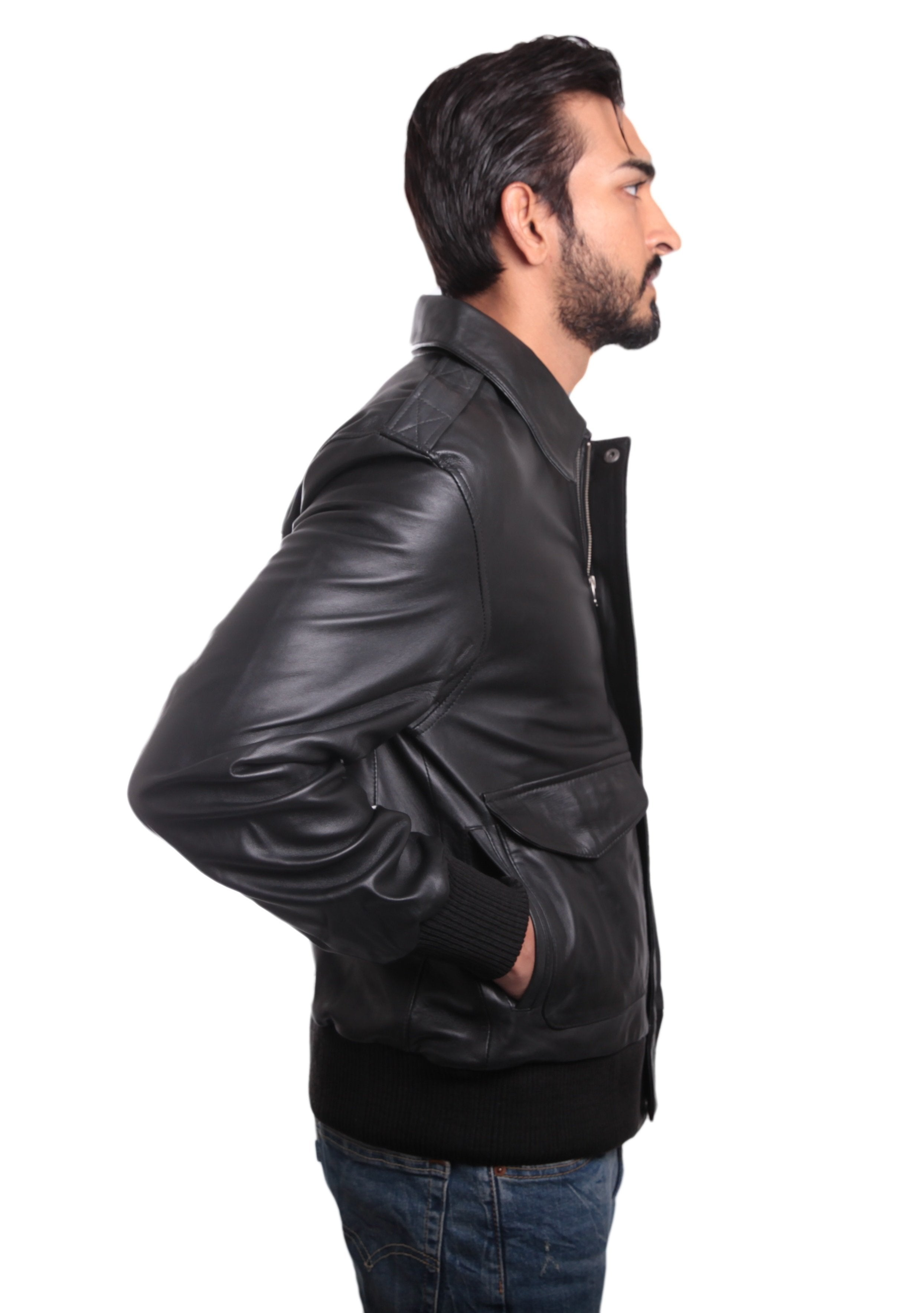 Leather Jacket - Houston Mens Leather Bomber Jacket