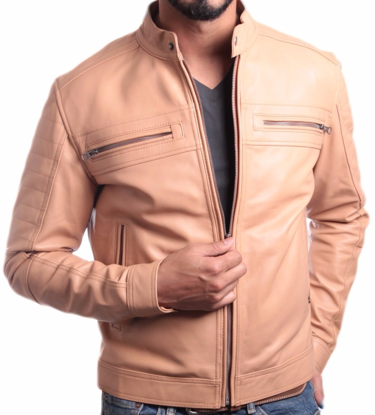 Men's Charles Beige Premium Leather Jacket, [option2] - Fadcloset