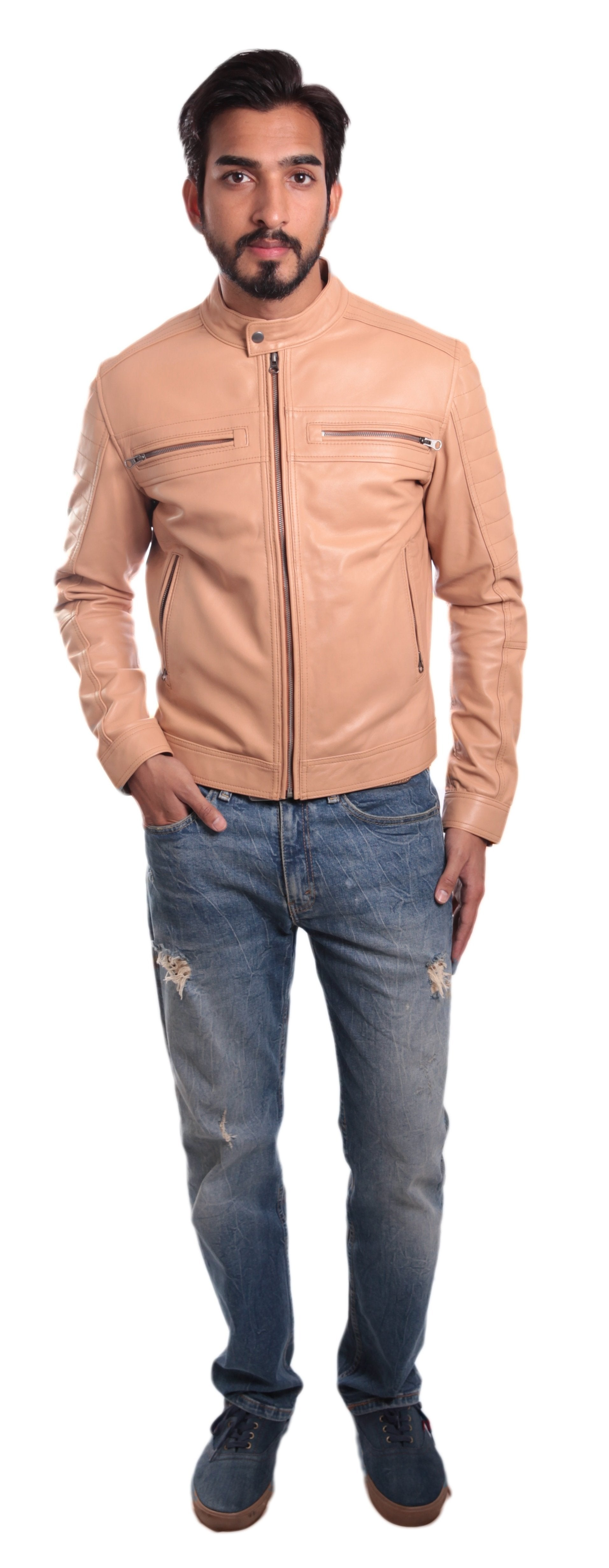 Leather Jacket - Men's Charles Beige Premium Leather Jacket