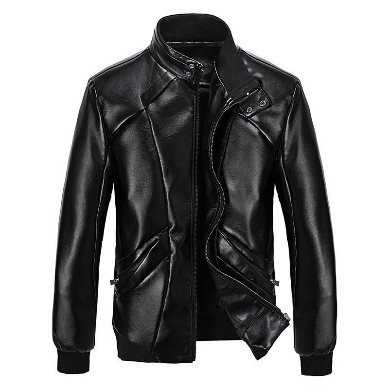 Mens Calypso Bomber Leather Jacket, Black - Fadcloset