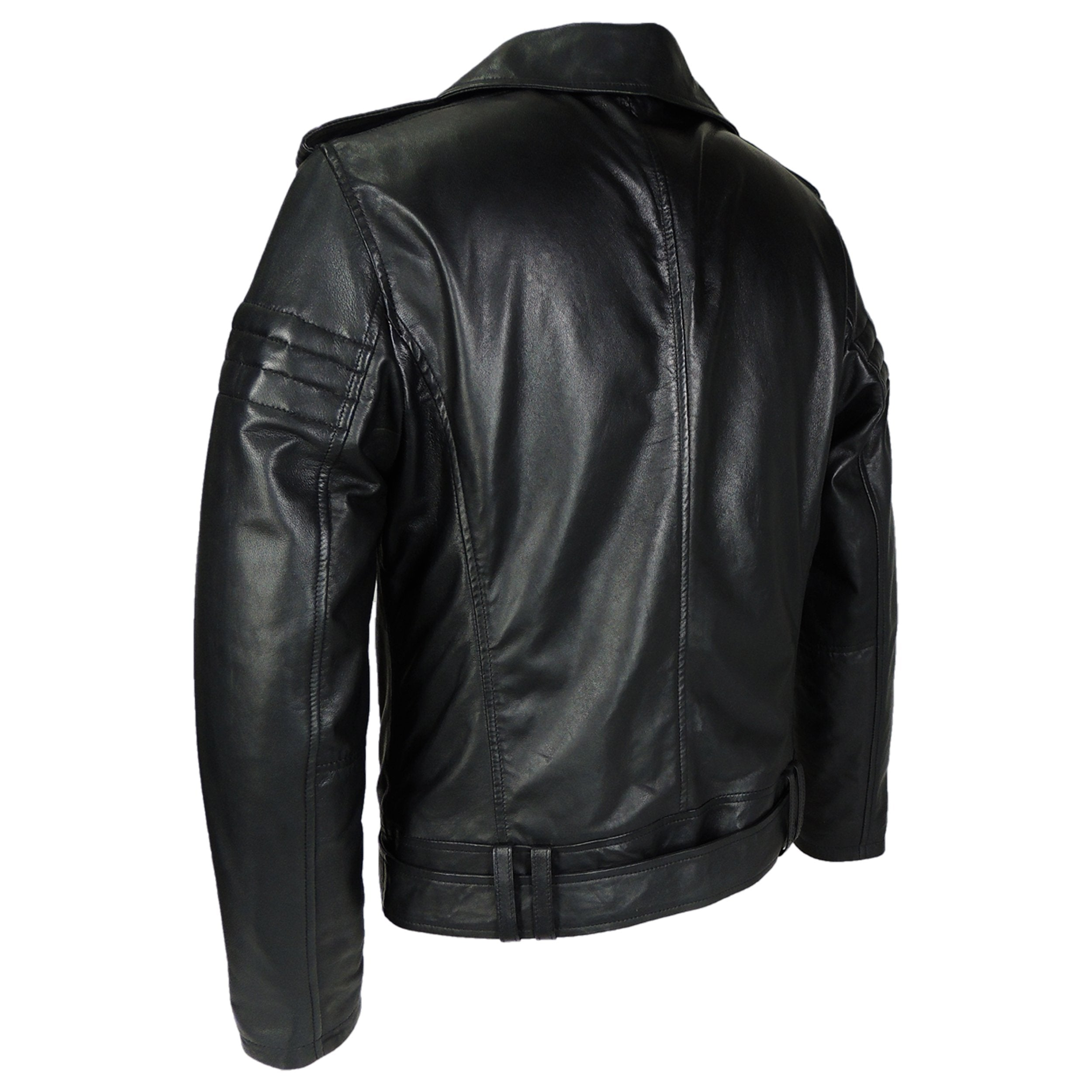 Mens Gavin Moto Assymetric Leather Jacket - Discounted - fadcloset