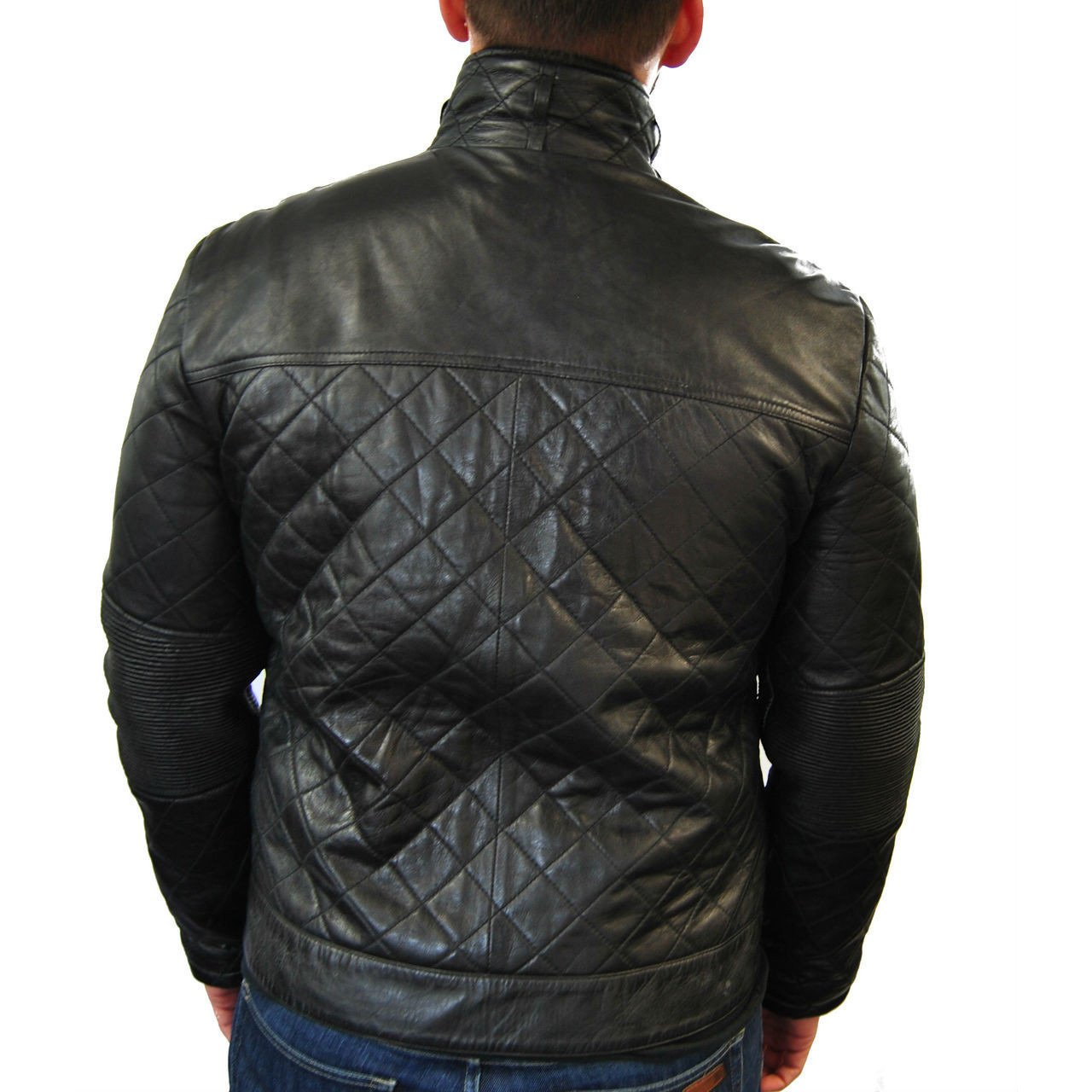 Mens Large Quilted Leather Jacket - fadcloset