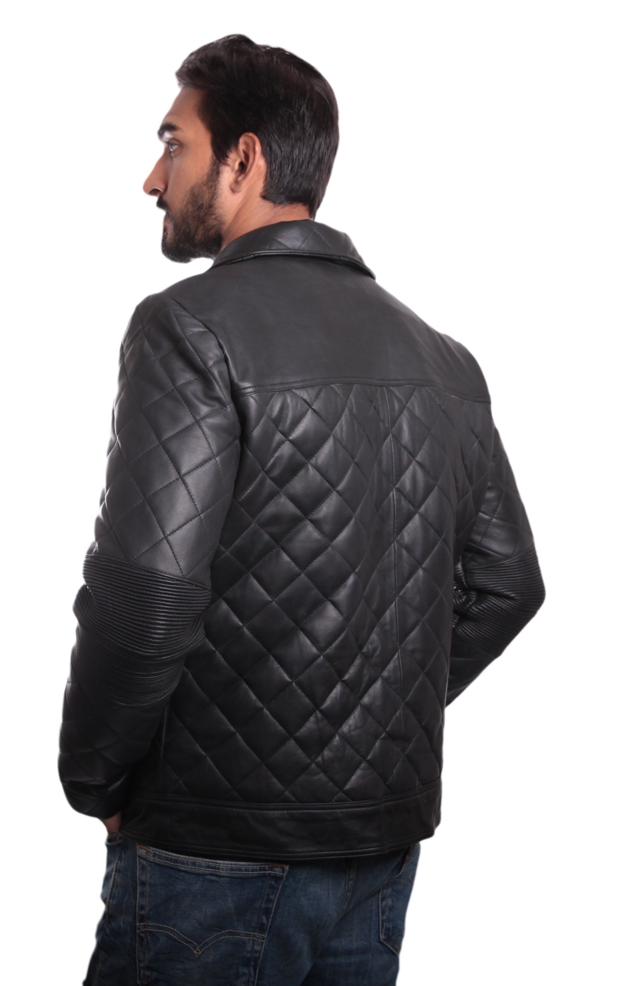 Leather Jacket - Mens Quilted High-End Jacket