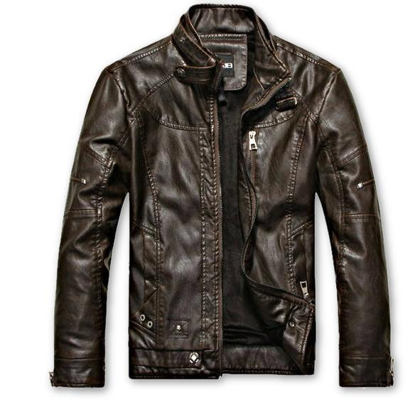 Swift Mens Leather Jacket, Coffee - Fadcloset