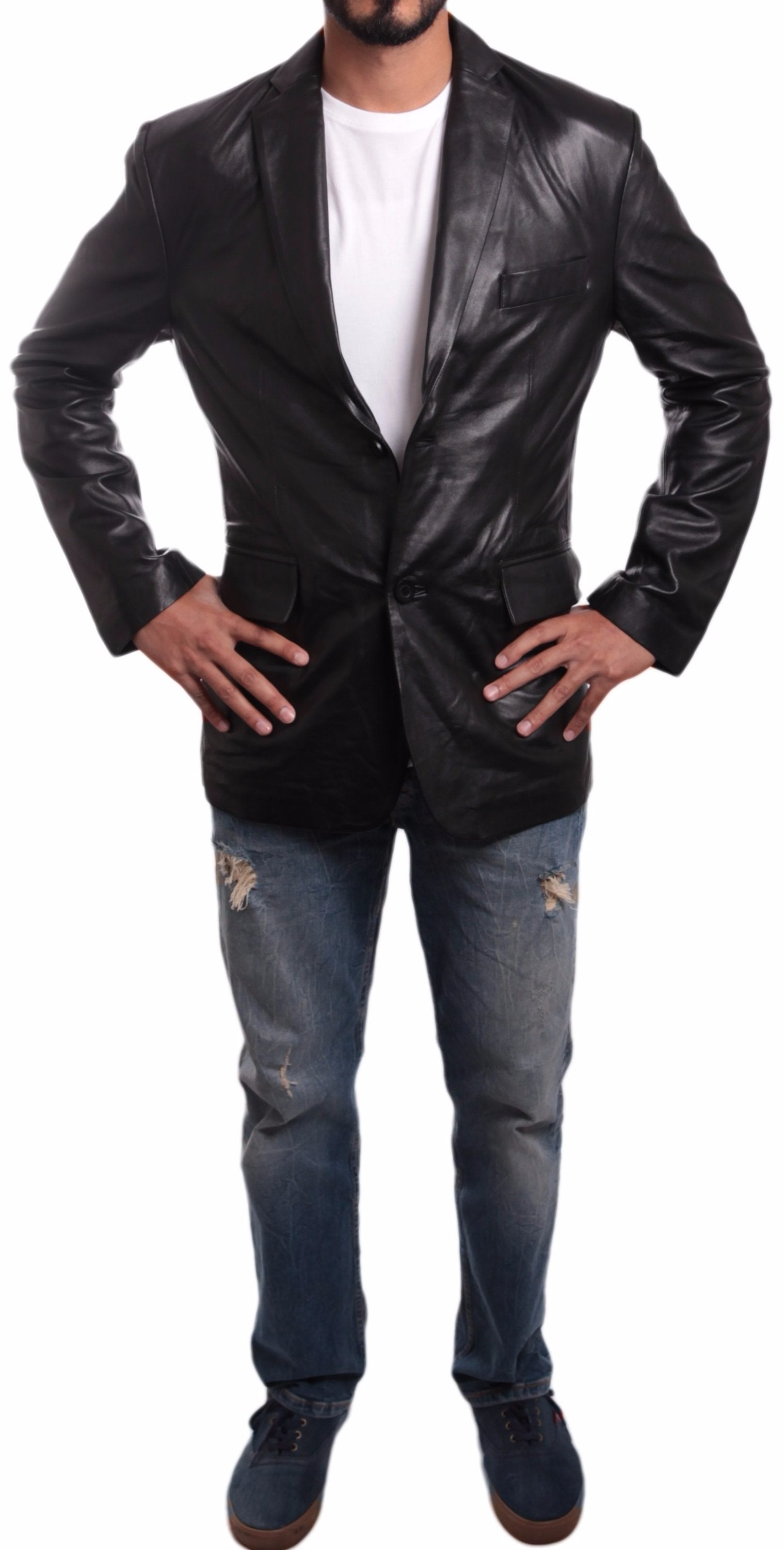 Mens Leather Blazer - Men's Brisque 2 Button Lambskin Blazer