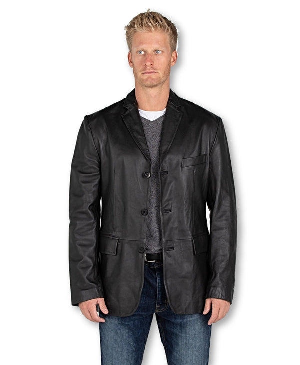 Mens Leather Blazer - Men's Sicilian 3 Button Lamb Leather Blazer
