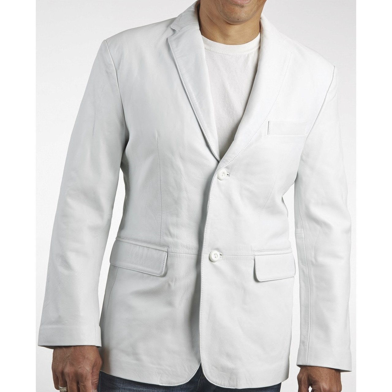 Mens Classic White Leather Blazer - fadcloset