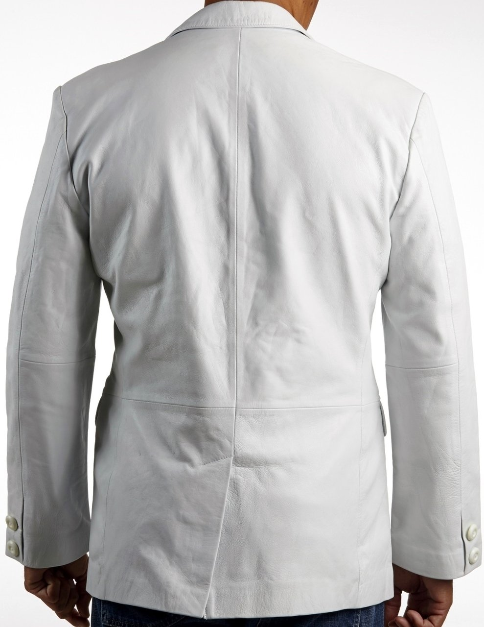 Mens Leather Blazer - Mens Classic White Leather Blazer
