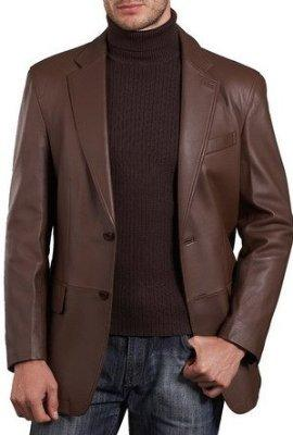 Mens Lambskin Choco Brown Leather Blazer, [option2] - Fadcloset