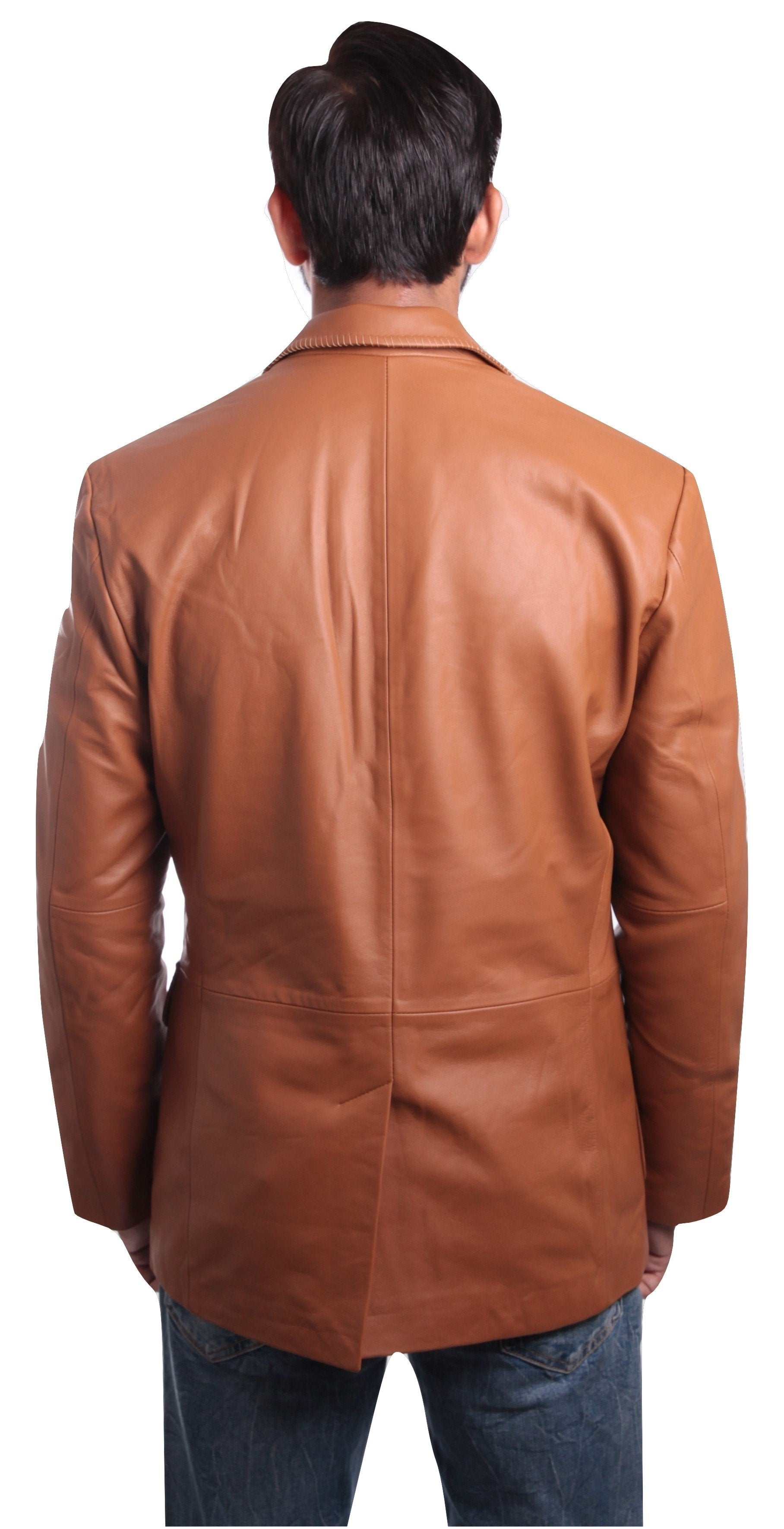 Mens Leather Blazer - Mens Tan Western Blazer Whip Stitched