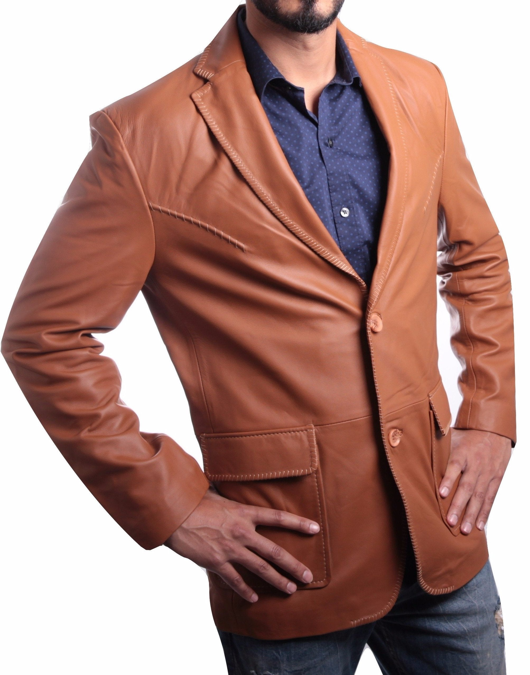 Mens Tan Western Blazer Whip Stitched-Leather Jacket-Fadcloset-XS-Tan-FADCLOSET
