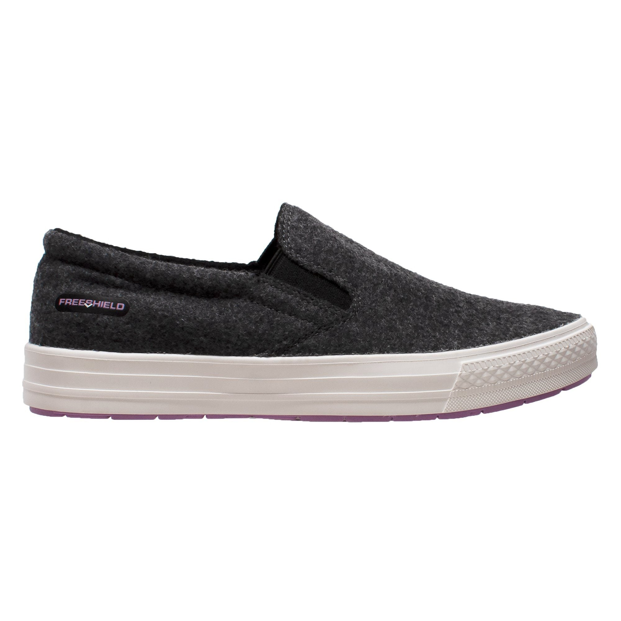 Women's Shoes - Women's Real Wool Casual Slip On Charcoal