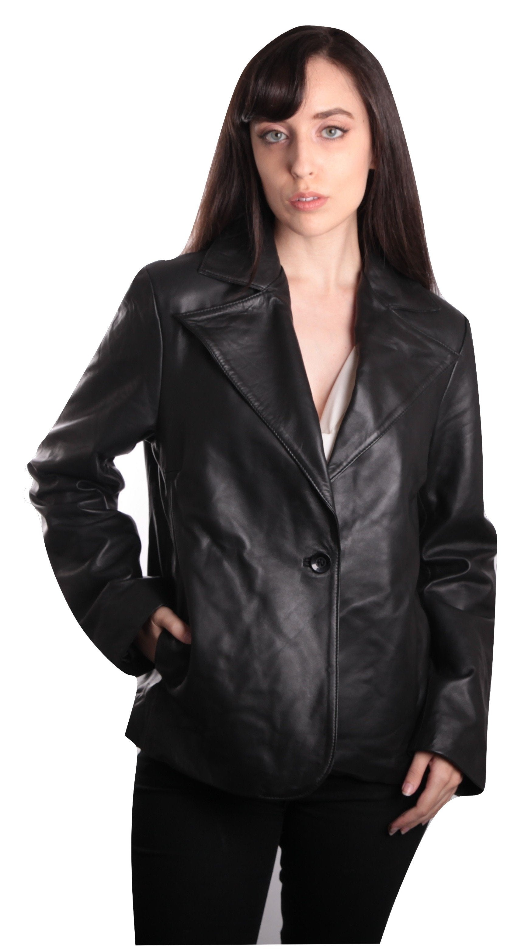 Ella Womens Leather Blazer - fadcloset