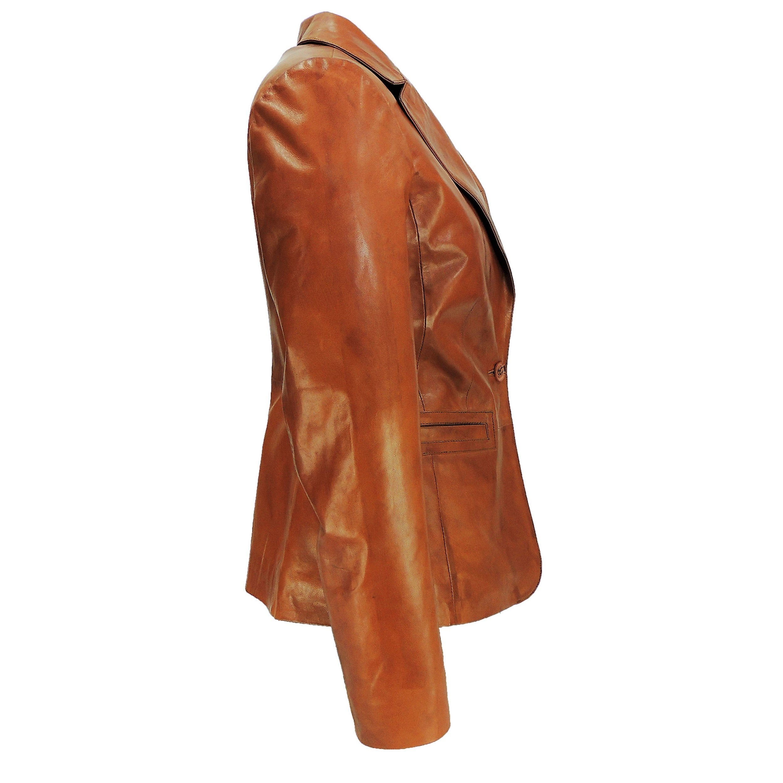 Women's Stylish Caramel Tan Leather Blazer - fadcloset