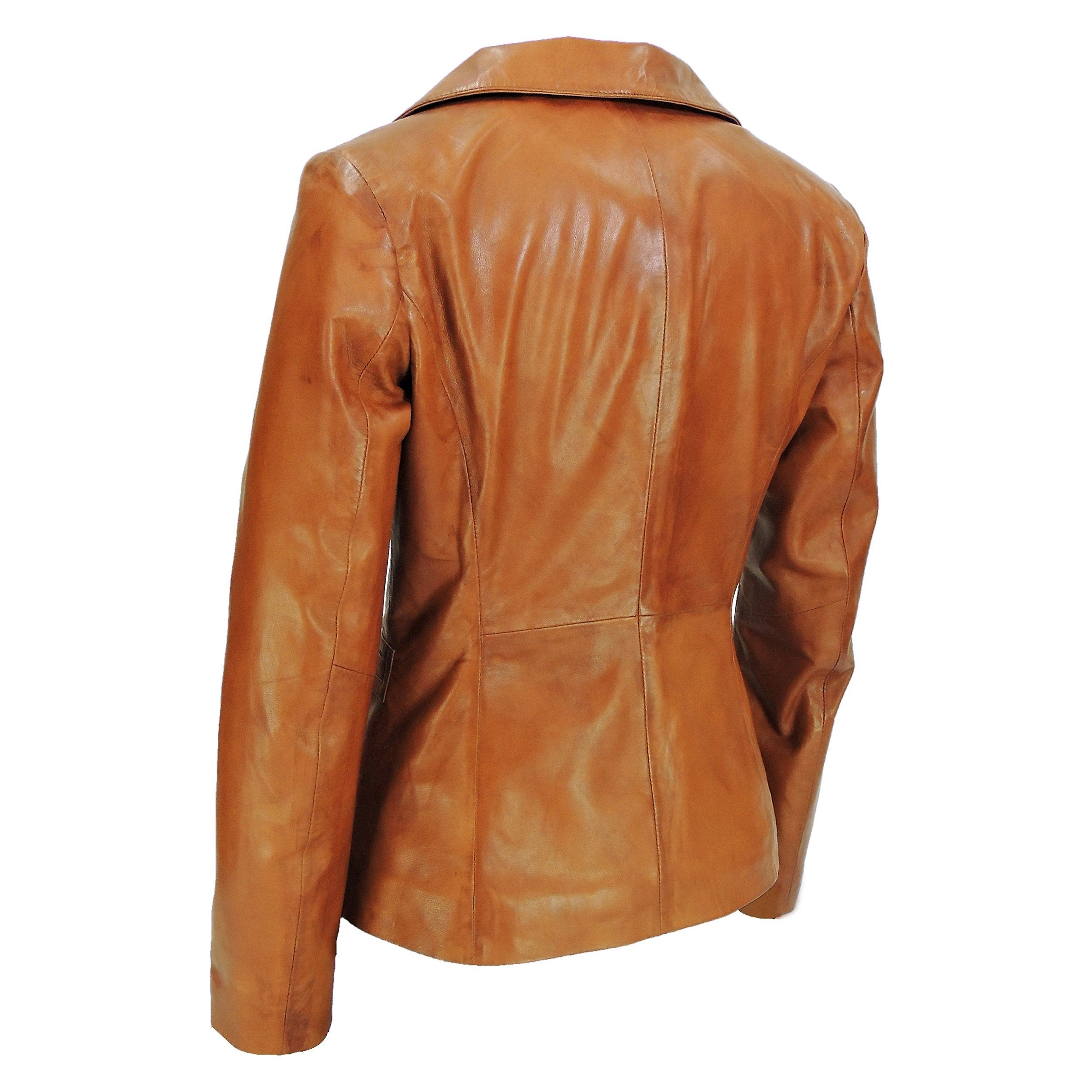 Womens Leather Blazer - Women's Stylish Caramel Tan Leather Blazer