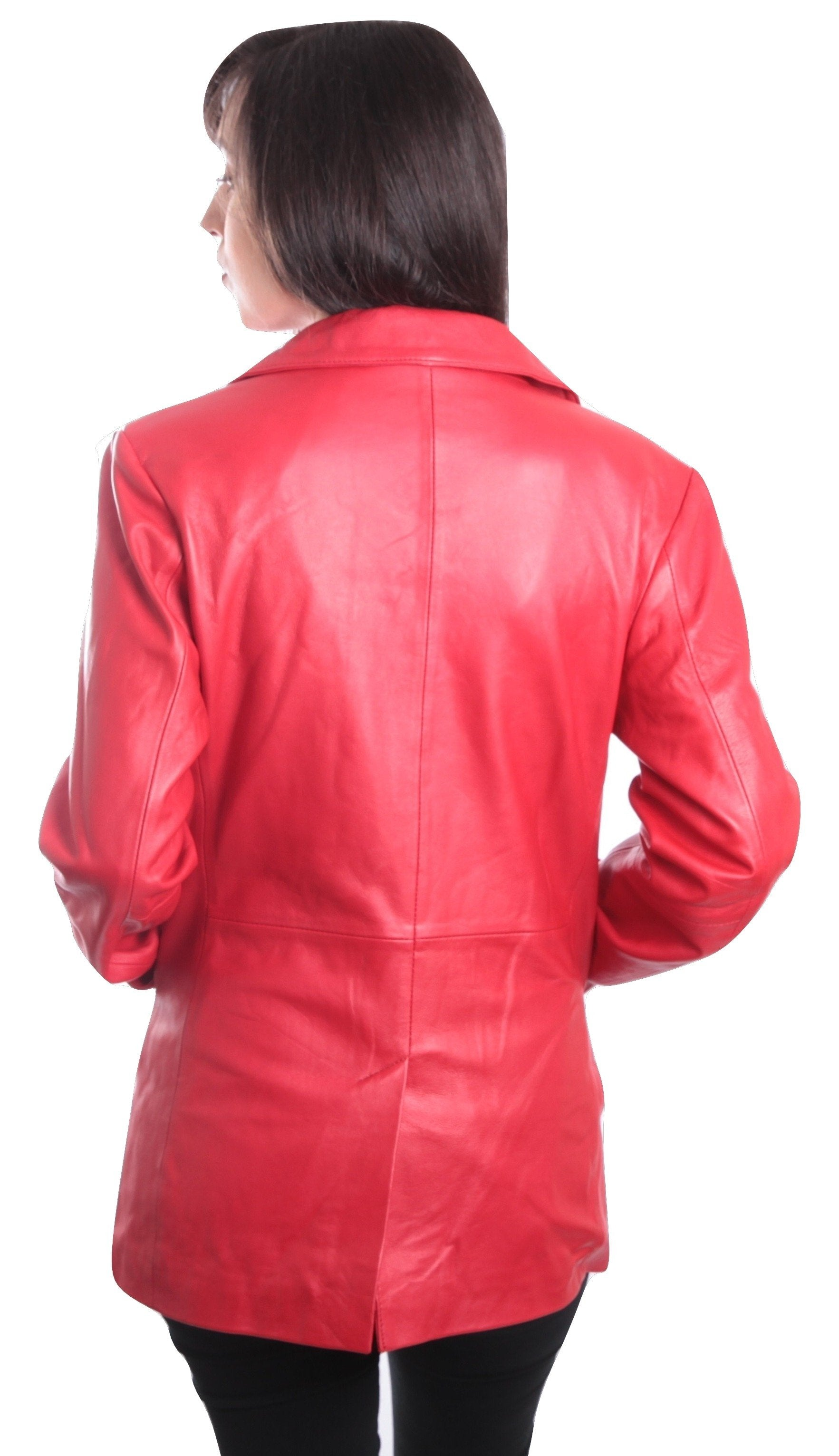 Womens Lipstick Red Hot 3 Button Leather Blazer, [option2] - Fadcloset