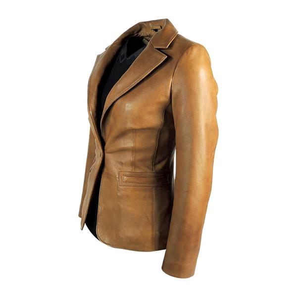 Womens Leather Blazer - Womens Tapered Tan Leather Blazer - Awesome Lambskin