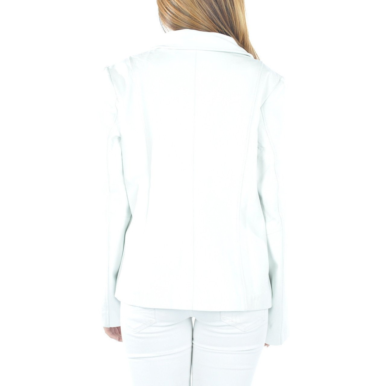 Womens Leather Blazer - Womens White Leather Blazer